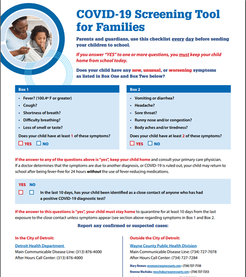 COVID-19 SCREENING TOOL FOR FAMILIES