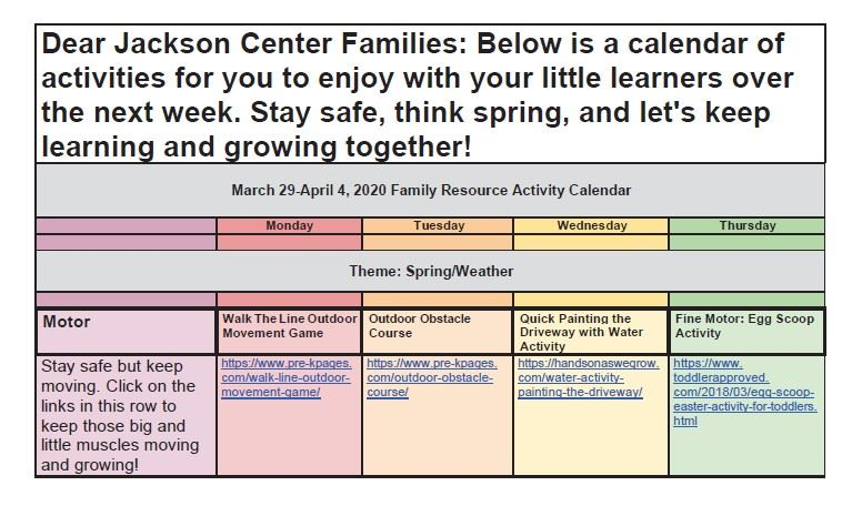 Jackson Center Family Resource Calendar March 30-April 3