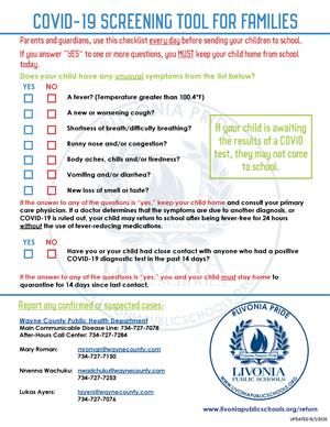 Daily Student Health Screening Checklist click here