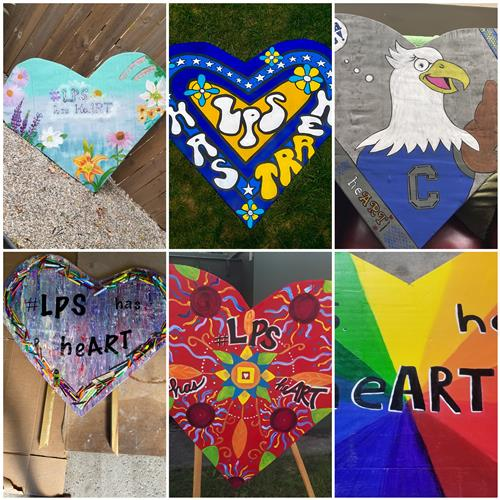 collage photo of art hearts
