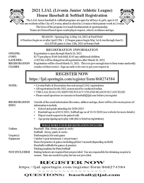 baseball registration flyer