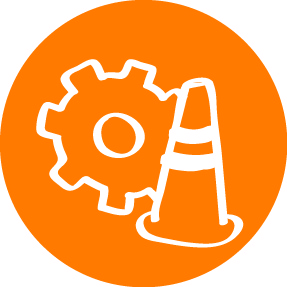 icon of traffic cone and gear
